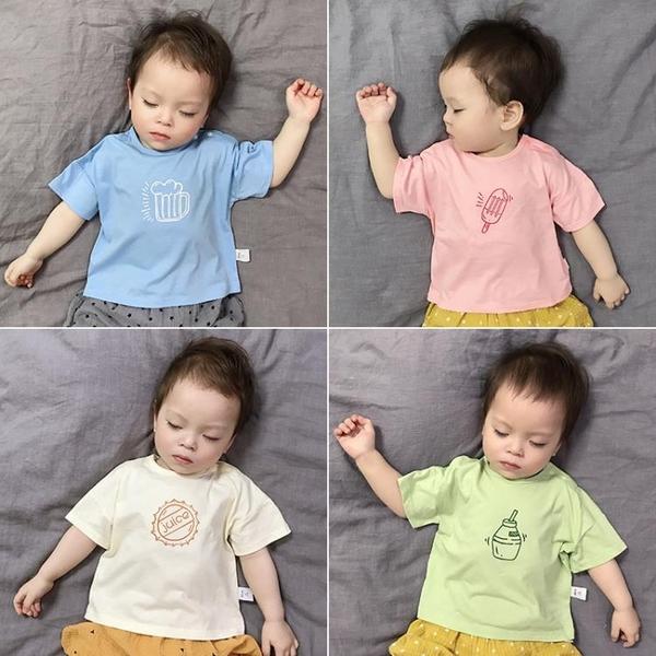 短袖純棉t恤薄款冰絲棉男女兒童印花韓版半袖上衣夏裝 茱莉亞