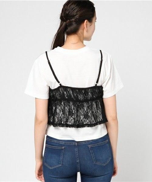 ❖ Hot item ❖ 【SET ITEM】吊帶蕾絲上衣+素面圓領短袖T恤 - E hyphen world gallery