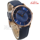 RELAX TIME Classic 經典系列 立體波紋簡約俐落 女錶 真皮手錶 防水手錶 玫瑰金X藍 RT-88-3L
