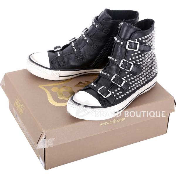 ASH VICIOUS 羊皮釦帶鉚釘高筒休閒鞋(黑色) 1541006-01