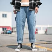 夏季牛仔長褲男闊腿褲薄款青年寬鬆百搭嘻哈大版型港風新款褲子 LR9140【原創風館】