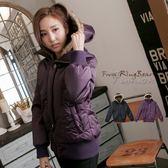 鋪棉連帽外套---內襯茸毛連帽羅紋邊設計貴族氣息鋪棉外套(黑.紫2L-5L)-J121眼圈熊中大尺碼