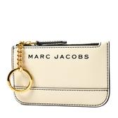 美國正品 MARC JACOBS 黑色LOGO防刮皮革鑰匙零錢包-米色【現貨】