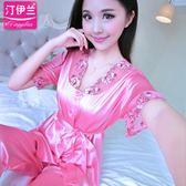 性感絲綢公主睡衣女士短袖夏季開衫絲質可愛大尺碼家居服女兩件套裝