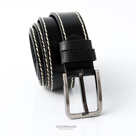皮帶 基本黑米色車邊設計銀色方形扣頭腰帶 簡單風格 質感真皮材質【NK96】時尚潮流