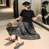 高含棉拼接傘襬長洋裝--適L-3XL大碼寬鬆假兩件拼接雪紡魚尾長裙短袖連身裙 5661FFD12韓衣裳