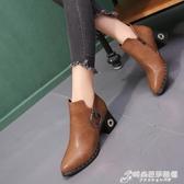 秋冬新款高跟粗跟時尚歐美女鞋短靴尖頭英倫女靴馬丁靴及裸靴 時尚芭莎