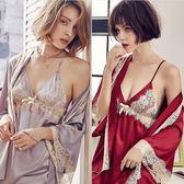 限定款浴袍PATRATING性感吊帶睡袍女秋冬季冰絲蕾絲和服睡衣四件套裝家居服