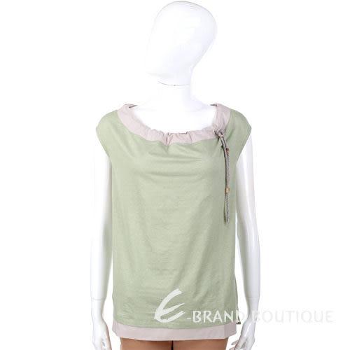 FABIANA FILIPPI 灰綠色拼接設計 抽繩造型 短袖上衣 1320180-08