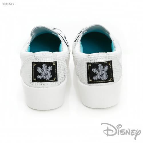 Disney 獨一無二~米奇不對稱厚底休閒鞋-白