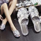 涼拖鞋女夏時尚包頭半拖鞋外穿夏季新品平底鏤空亮平跟女鞋 【限時八五折】