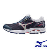 【MIZUNO 促銷8折】MIZUNO(女) WAVE RIDER 21 G-TX 慢跑鞋 / 靛藍X銀灰