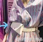 2018新款原宿小包韓版港風手機包街頭迷你小腰包小包包女士皮帶包   橙子精品