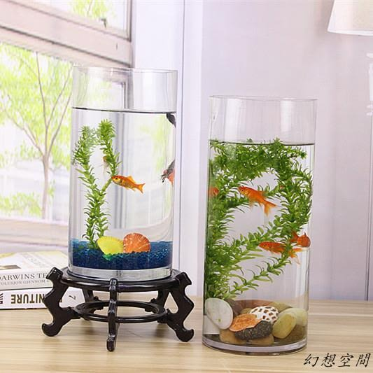 烏龜缸 金魚缸 玻璃 水族箱小型創意生態圓形 圓柱大號烏龜缸 造景培裝飾
