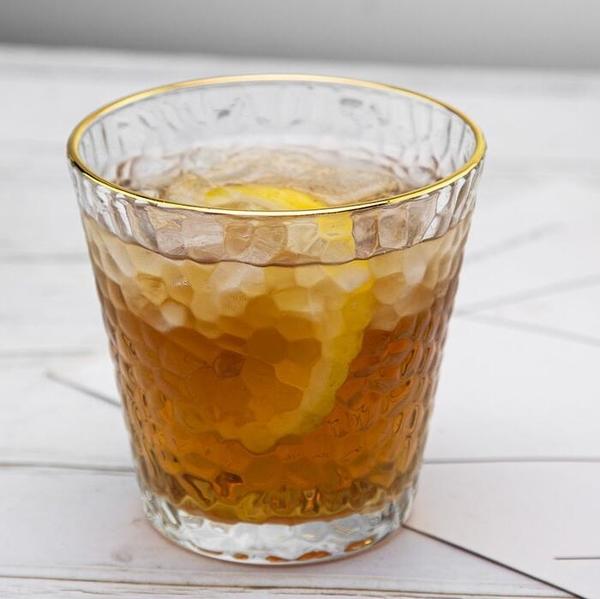 水杯 日式錘紋金邊玻璃杯家用喝水杯女風簡約果汁杯咖啡杯奶茶杯子【快速出貨八折下殺】