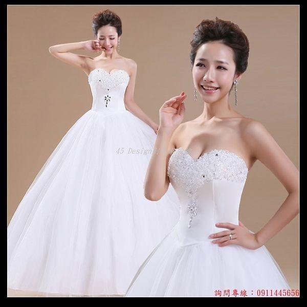 (45 Design) 訂做款式7天到貨新娘婚紗 韓版婚紗 水鑽裹胸性感款