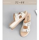 大尺碼女鞋小尺碼女鞋圓頭個性一字雙扣帶厚...