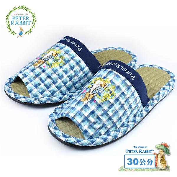 【クロワッサン科羅沙】Peter Rabbit 方格藤蝶素邊草蓆室內拖鞋 (藍30CM)