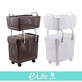 【快速出貨】多功能可疊加附輪洗衣籃(二層整組) 髒衣籃 收納 可疊加 洗衣籃 可移動【e-Life】