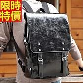後背包-素面黑色潮流複古大容量雙肩男包包67j46【巴黎精品】