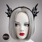 【摩達客】萬聖派對頭飾-哥德風黑色精靈耳蕾絲創意造型髮箍