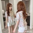 夏裝2020新款韓版甜美方領短袖荷葉邊下擺短款碎花襯衫女洋氣上衣 KP703『美鞋公社』