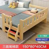 實木兒童床男孩單人床女孩公主嬰兒床拼接大床加寬床邊小床wy