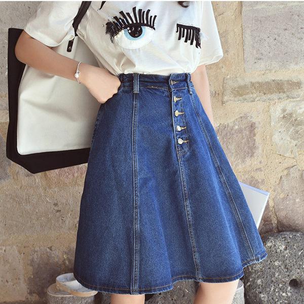 DE SHOP~(GU-3131)中長款純色單色藍色單寧牛仔裙半身裙高腰傘裙大擺A字裙