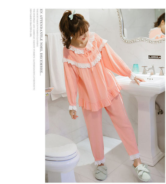 春季女士長袖純棉家居服粉色睡衣蕾絲花邊公主范家居服套裝-wow0023