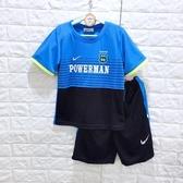 ☆棒棒糖童裝☆(E1518藍)夏男大童細條紋拼色排汗套裝 120-170 台灣製造