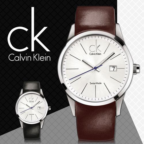 CK手錶專賣店 K2246138 咖啡 男錶 中性錶 大錶徑 石英 白面 礦物抗磨玻璃 扣帶式皮革錶帶