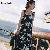 藍色巴黎 ★ 涼感 韓版小清新花朵雪紡吊带背心連身裙 海邊度假洋裝  沙灘裙  【28512】