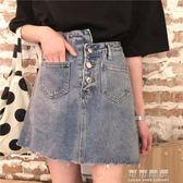 韓版百搭學生潮款牛仔短裙不對稱高腰半身裙單排扣純色A字裙女夏 可可鞋櫃