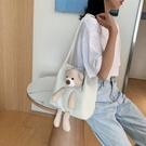 帆布包 2020新款潮夏季流行小熊女包百搭單肩布袋