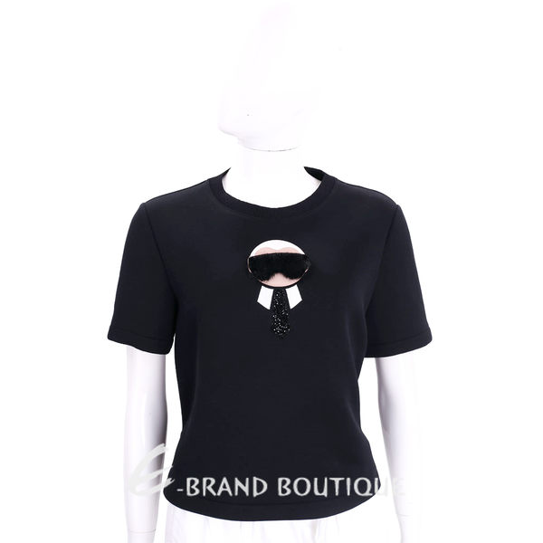 FENDI KARLITO 黑色老佛爺皮草造型棉質短袖上衣 1710937-01