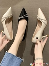 高跟鞋 女士黑色高跟鞋子2021年春秋季新款尖頭細跟百搭法式不累腳單鞋夏 愛丫 免運