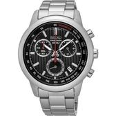 【台南 時代鐘錶 SEIKO】精工 Criteria 運動三眼計時腕錶 SSB205P1@8T68-00A0D 黑/銀 42mm
