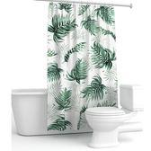 北歐綠色熱帶植物清新加厚防水防霉衛生間隔斷簾廚房窗簾門簾浴簾  後街五號