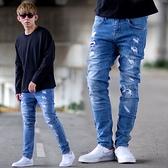 牛仔褲 韓國製抓破補丁中藍刷色合身版牛仔褲【NB0939J】