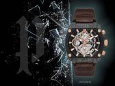 【時間道】POLICE粗曠機械風酒桶腕錶 / 鏤空黑殼深咖皮帶(15472JSB-61)免運費