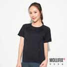 Mollifix 瑪莉菲絲 無縫網眼透氣短袖訓練衣 (黑)
