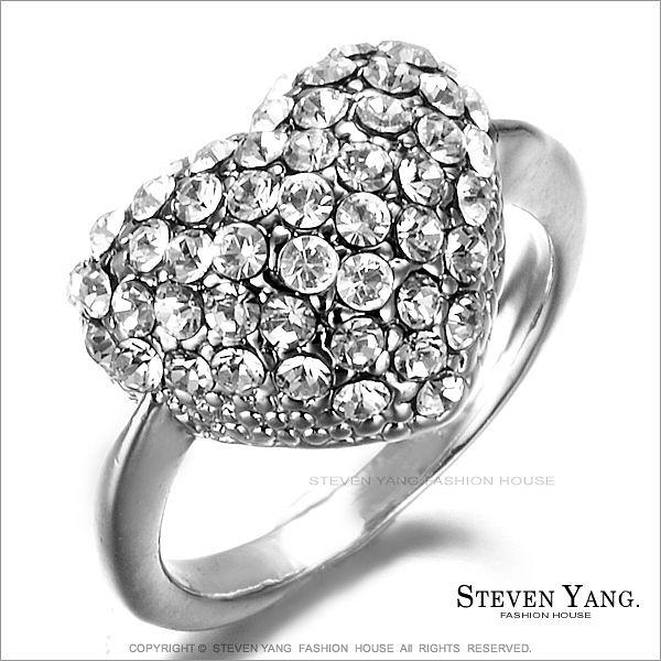 戒指 正白K飾「立體愛心」鋯石 銀色白鋯款 甜美淑女款 單個價格