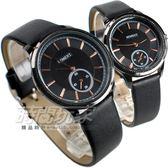 MOMENT舜時 情人對錶 日本機蕊 小秒盤時刻 真皮錶帶 對錶 黑色/玫瑰金時刻 MO8091黑大+MO8091黑小