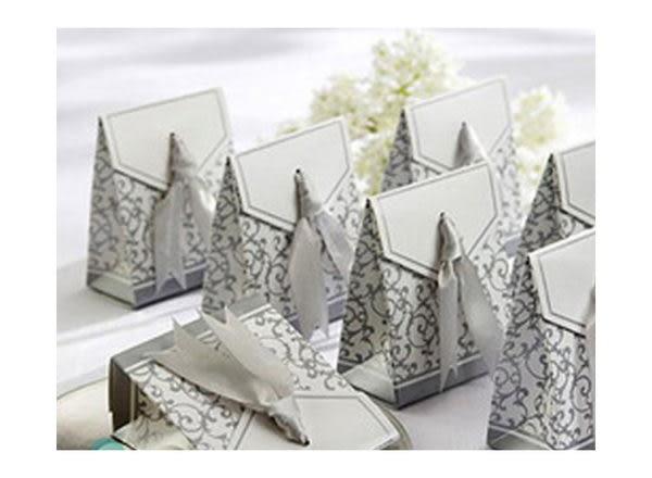 銀色年華絲帶喜糖盒~~/100個,婚禮小物
