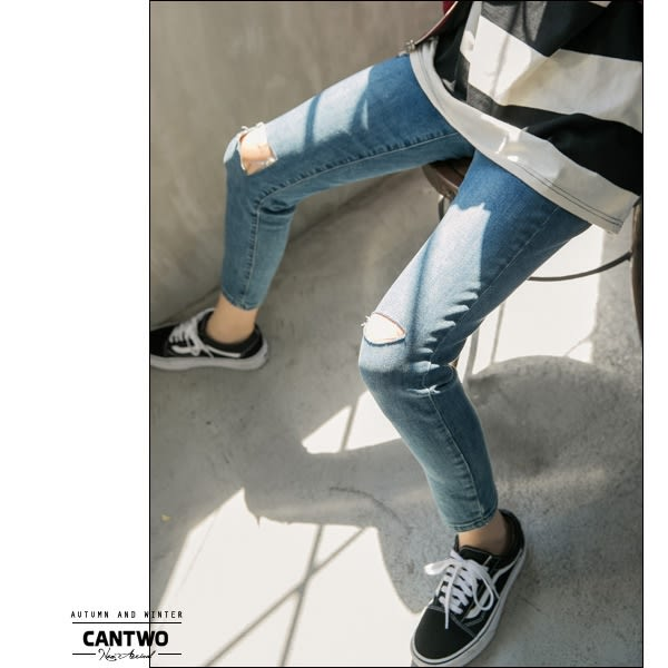 CANTWO腰頭剪接設計刷色丹寧長褲