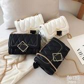 小包包女2019新款韓版洋氣小方包時尚菱格鏈條單肩包 JY8443【pink中大尺碼】