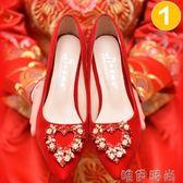 紅色婚鞋 婚鞋女新款新娘鞋平底結婚高跟紅色粗跟孕婦結婚紅鞋子秀禾鞋 唯伊時尚