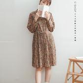 洋裝    碎花背拉鍊百折裙雪紡洋裝    單色原單-小C館日系