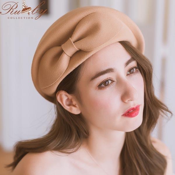 帽子 素色蝴蝶結毛呢圓頂畫家貝蕾帽-Ruby s 露比午茶