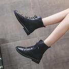 靴子 馬丁靴女2021新款春加絨保暖女鞋百搭英倫風系帶厚底機車短靴子【快速出貨八折優惠】